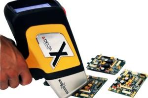 DELTA XRF Handheld Analyzer testing electronics