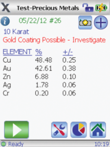 Screen shot of the GoldXpert detecting Gold Coating